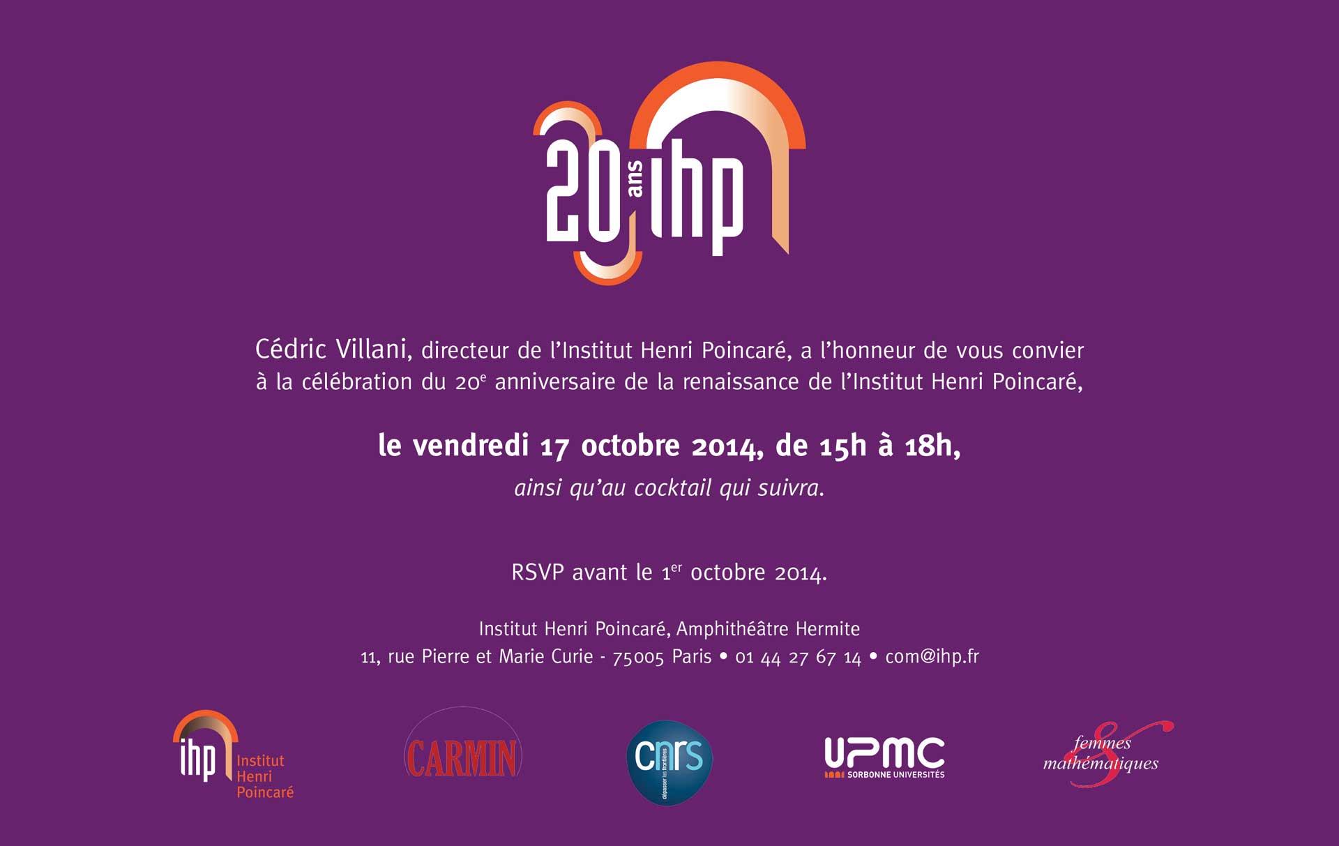 20ans Institut Henri Poincaré Invit