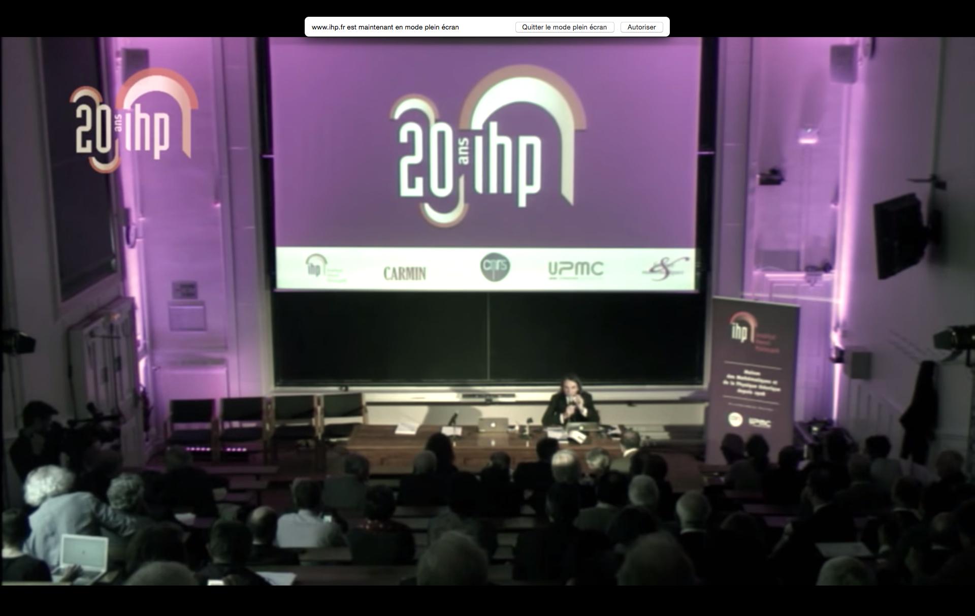 20ans Conférence Institut Henri Poincaré